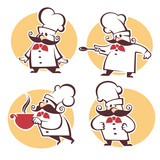 cooking symbols, food and chef silhouettes, vector collection em
