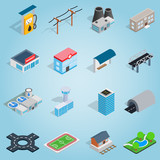 Fototapety Isometric infrastructure icons set. Universal infrastructure icons to use for web and mobile UI, set of basic infrastructure elements vector illustration