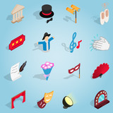 Isometric theatre set icons. Universal theatre icons to use for web and mobile UI, set of basic theatre elements vector illustration