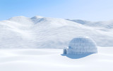 Igloo isolated in snowfield with snowy mountain, Arctic landscape scene - 120401055