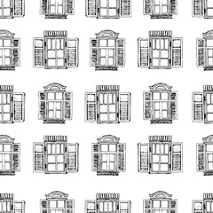 Retro window. Seamless vector pattern. Hand drawing illustration