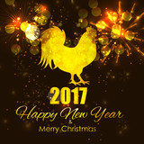 Vector Illustration of Red Fire Rooster, Symbol of 2017 Year on