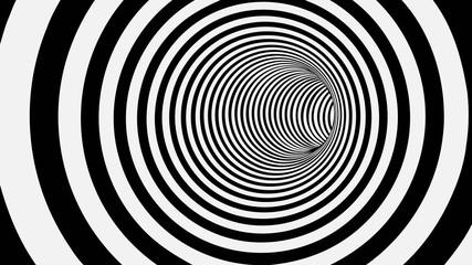 fototapeta 3D czarno białe koło w tunelu