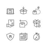 Line icons. Shipping. Flat symbols