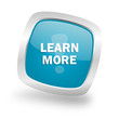 learn more square blue glossy chrome silver metallic web icon