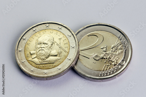 Poster two euro coin commemorative Galileo Galilei, Italy year 2014
