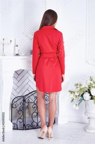 Poster Beauty sexy woman clothing catalog stylish fashion red dress