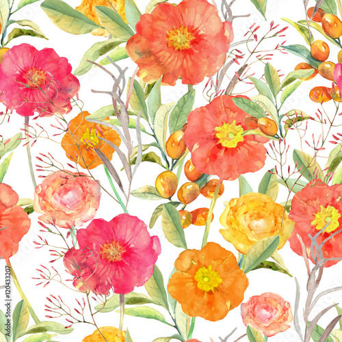 Materiał do szycia Vector illustration of floral seamless. Hand drawn colorful flow