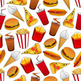Junk food seamless pattern with fastfood dinner
