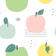 Cute apple seamless pattern. Hand drawn vector surface design. Cropped with clipping mask