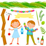 Sukkot symbols with two kids and seamless palms roof