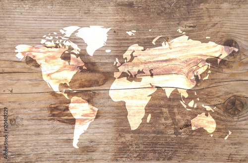 Poster World map on wooden background