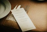 Fototapety Wedding menu card over table setting. Event detail.