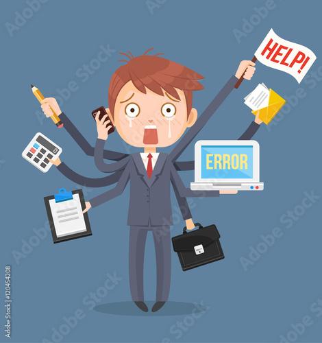 Busy businessmen character. Multitasking hard work. Vector flat cartoon illustration - 120454208