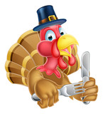Cartoon Turkey in Thanksgiving Pilgrims Hat Holding Knife and Fo