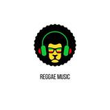 Lion head in sunglasses with rastafari flag and headphones. Vector reggae music logo template isolated.