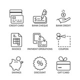 basic payment methods line icons with text