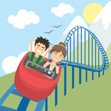 Fototapety Rollercoaster in amusement park. Young smiling man and woman have fun on the roller coaster. Scary but funny entertainment.