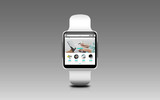 close up of smart watch with online shop on screen