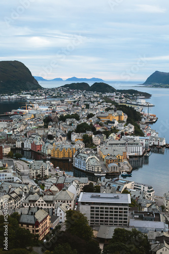 Zdjęcia Beautiful super wide-angle summer aerial view of Alesund, Norway, with skyline a