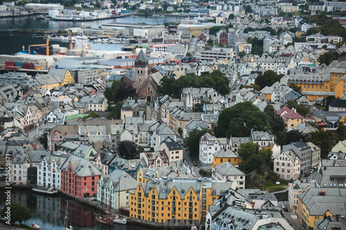 Poster Beautiful super wide-angle summer aerial view of Alesund, Norway, with skyline a