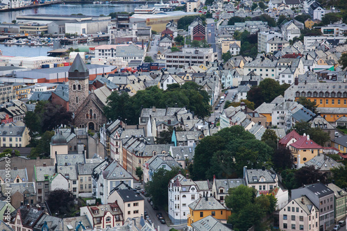 Plagát, Obraz Beautiful super wide-angle summer aerial view of Alesund, Norway, with skyline a