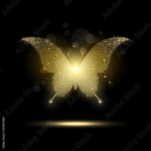 Błyszczący Złoty Motyl