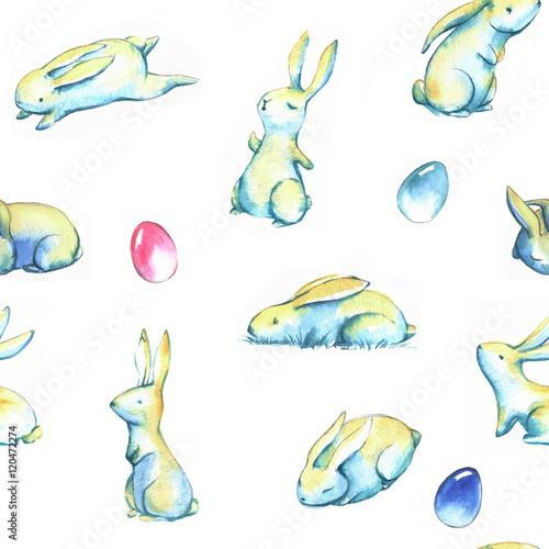 Materiał do szycia Hand-drawn watercolor seamless pattern with cute little Easter bunnies on the white background. Repeated print with rabbits and colored eggs