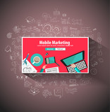 Mobile Marketing concept with Doodle design style