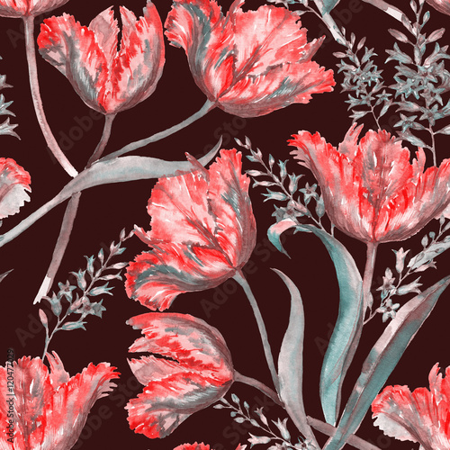 Fototapeta na wymiar Hand-drawn watercolor summer floral seamless pattern with vibrant red tulips and hyacinth. Fresh bright flowers in the beautiful repeated print for the textile, wallpapers, wrapping paper.