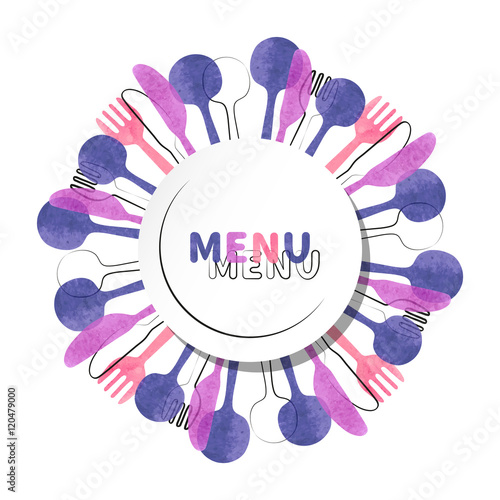 Restaurant round menu design. Vector illustration of cutlery - watercolor fork, spoon and knife silhouettes.