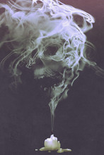 """Постер, картина, фотообои """"skull shaped smoke comes out from burnt candle,horror concept,illustration painting"""""""