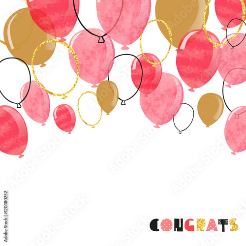 Watercolor pink, red and glittering gold balloon. Vector celebration background.