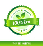 100% eco badge label seal stamp logo text design green leaf template vector eps