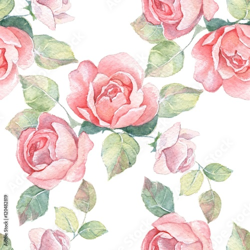 Floral branch. Watercolor seamless pattern 7.  Hand painted background with roses - 120482819