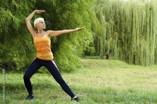 Potomstwa, napad, piękna kobieta robi Tai Chi pozie w parku outdoors