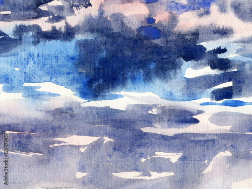 watercolor background sky  - 120490457