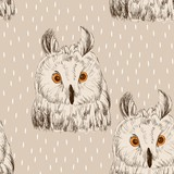 Sketch of owl on a white background. Seamless pattern