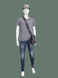 Male mannequin dressed in t-shirt and blue jeans
