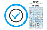 Ok rounded vector bicolor icon with 1000 medical business icons. Set style is flat pictograms, blue and gray colors, white background.