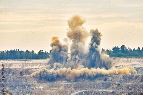 Poster Explosion blast in open cast mining quarry mine
