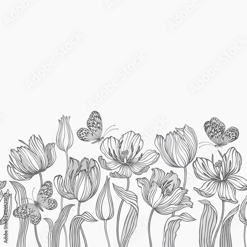 seamless floral border with tulips and butterflies