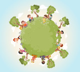 Planet earth with cute cartoon kids playing. Sports and recreation.