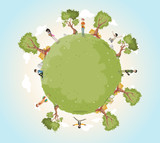 Planet earth with cartoon teenagers . Nature background. Green world.