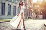 Fashion  photo of beautiful elegan womanl with dark hair wearing - 120525013