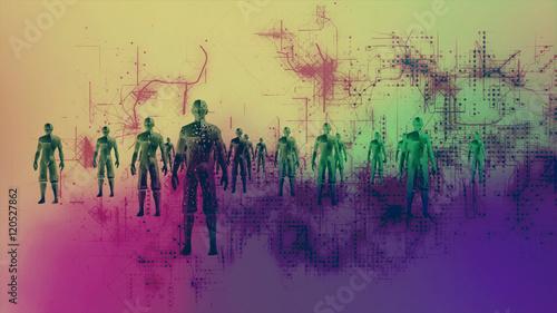 High Tech Humanoids in a Digital Environment - 120527862