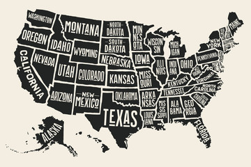 Poster map of United States of America with state names. Black and white print map of USA for t-shirt, poster or geographic themes. Hand-drawn black map with states. Vector Illustration © foxysgraphic