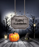 Halloween spooky background with wooden sign. Vector