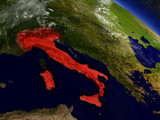 Italy from space highlighted in red
