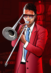 Jazz trombone player © Isaxar